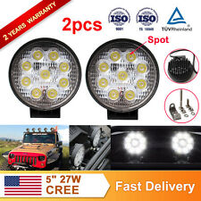 2pcs 5Inch 27W LED CREE Work Light Round SPOT 2450LM driving truck boat SUV Lamp