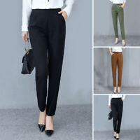 Womens Casual High Waist Loose Pencil Pants Elastic Waist Solid Office Trousers