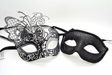 Prom Party Mask Couple Metal Butterfly Black/Silver Venetian Masquerade Mask