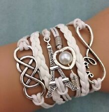 NEW Infinity LOVE Heart Eiffel Tower Friendship Leather Charm Silver Bracelet