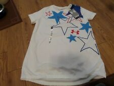bnwt-girls ss under armour shirt- yxl loose fit-white-stars