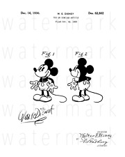 Walt Disney signed Mickey Mouse Patent 8X10 photo poster picture autograph RP