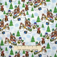 Christmas Fabric - Snowman Band Musical Instruments White YARD