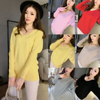 Womens Wild Cashmere Loose Pullover V-Neck Knitted Sweater Winter Warm Jumpers