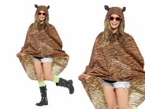 Ladies Mens Unisex Animal Ponchos Showerproof Festival Adult Fancy Dress Tiger