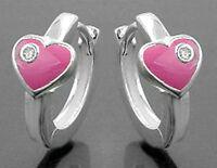 925 ECHT SILBER *** Kinder Herz pink rosa Creolen 12 mm