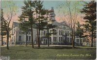 c1910 TRAVERSE CITY Michigan Mich Postcard HIGH SCHOOL