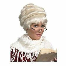 Stylish White Mrs Claus Old Lady Granny Colonial Victorian Wig in a Bun