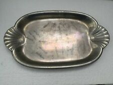 """Wilton Metal Oval Serving Tray Platter Dish Plate Scallop Shell Handles 8"""" X 14"""""""