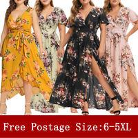 Women's Plus Size V Neck Floral Print Short Sleeve Boho Dress Party Maxi Dress