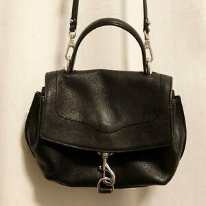 Rebecca Minkoff Stella Mini Satchel Crossbody Small Black Leather Purse Bag $228