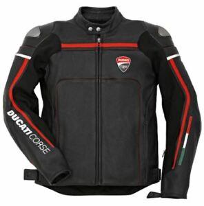 New Men Ducati Corse Motorbike Racing Leather Jacket In Black