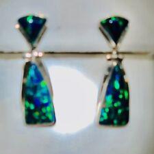 Ladies Black Opal dangle earrings Perfect Size Green blue fire Sterling 925