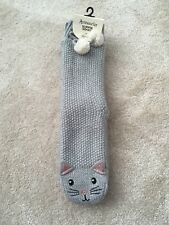 Accessorize Cat Grey/ Silver Cable Knit Slipper/ Bed Socks With Pom Pom