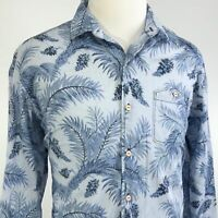 TOMMY BAHAMA LONG SLEEVE BLUE FLORAL BUTTON DOWN COTTON SHIRT MENS SIZE L