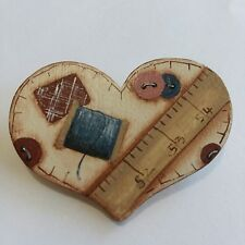 Wood Heart Pin Brooch Hand Painted Sewing Patchwork Quilting R19