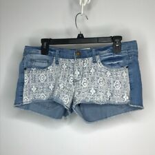 Mudd Denim Cut Off Booty Shorts Size Juniors 9 Lace Details 5 Pockets