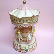 EXQUISITE Musical Moving Four horse Carousel Baby Shower Christening Birthday