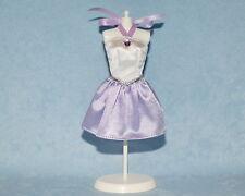 FASHIONABLE Off White & Lilac Purple w/ Silver Genuine BARBIE Sleeveless Dress