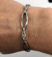 925 Sterling Silver- Vintage Cubic Zirconia Large Oval Links Tennis Bracelet