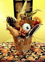 Fall Thanksgiving Pumpkin Harvest Wooden Bucket Home Decor