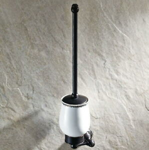 Oil Rubbed Bronze Wall Mounted Toilet Brush set With Ceramic Cup Holder Qba448