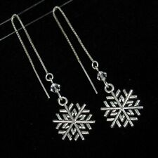 *SJ1* Christmas Snowflake Sterling Silver Threader Dangle Earrings w/ Swarovski