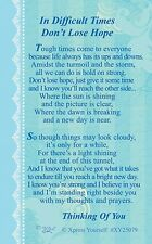 WALLET CARD DIFFICULT TIMES DON'T LOSE HOPE Keepsake Sentimental Thinking Of You