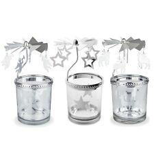 Star, Reindeer  & Angel Carousel Glass Christmas Tea Light Candle Holders