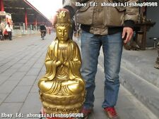 """27""""China Tibet Buddhism Hall Classic Brass Kwan-Yin Bodhisattva Buddha statue"""