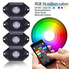 4x Pod Music Mini Bluetooth RGB LED Rock Light 4x4 Offroad Vehicle Jeep Wrangler
