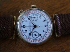 Vintage mens Ulysse Nardin chronograph Valjoux 22GH enamel dial all original!