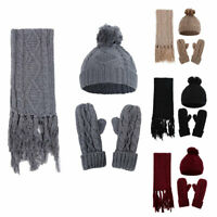 Womens Ladies Knitted Hat Scarf Gloves Set Rhombus Twisted Winter Wooly Thick
