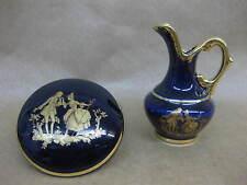 Limoges Cobalt Blue & Gilt Trinket Pot & Miniature Ewer / Jug ~ La Reine~ Lovers