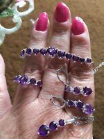 Sz 8-11.85ct Amethyst Sterling Adjustable Bracelet, Earrings, Ring & Pendant Set