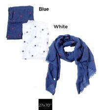 Embossed star print oblong Chiffon Scarf Women Soft Wrap Shawl Blue