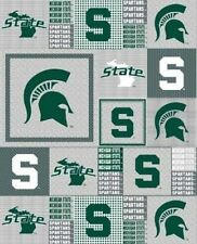 Package of Short Pieces Michigan State MSU 158 Grey Fleece Fabric Print D005.90