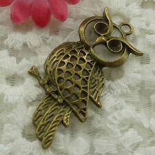 Free Ship 10 pieces bronze plated owl pendant 54x28mm #1227