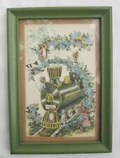 MOUSE MICE and CHOO CHOO TRAIN on TRACKS VINTAGE ART PRINT in FRAME Signed HBC