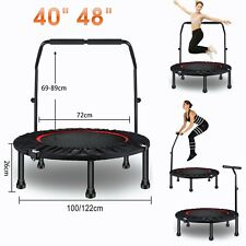 """40"""" 48"""" Folding Mini Trampoline Rebounder for Adults Kids with Adjustable Handle"""
