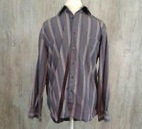 Alan Flusser Men's Size Medium Shirt Long Sleeve Striped Button Down