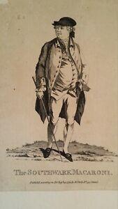 1772 SATIRICAL PRINT - THE SOUTHWARK MACARONI - HENRY THRALE - MATTHEW DARLY