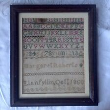 Antique Childs Framed Sampler Hand Crafted Margaret Roberts Llanfyllin Oct. 1860