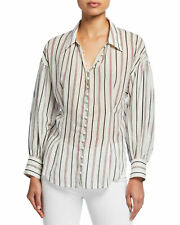 JOIE Minya Women's Blouse Medium Striped Button Down Top Shirt $228