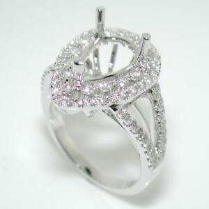 Halo Engagement Ring Setting For A Pear Cut With 0.75 Ct Diamond Accents 14k