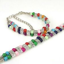 Lucky Chain Alloy Turquoise Bangle Beads Imitate Tibetan Style Silver-plated