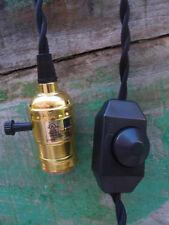 Single Gold Socket Vintage Pendant Light Cord w/ Dimmer, 11 FT  Black Cloth Cord