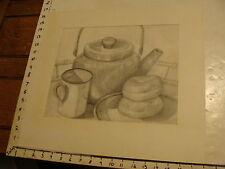 JAN STEELE, drawing: pencil: STILL LIFE: TIN CUP, BEGALS, COFFEE POT
