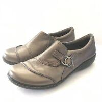 Clarks Women Size 9M Ashland Indigo Comfort Leather Loafers Bronze Slip On