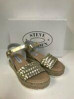 Steve Madden Women's Claus Gold Leather Braided Wedge Sandal